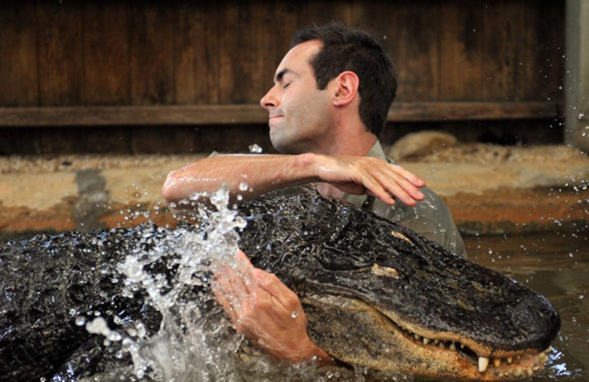Stuart Parker Hugging His Pet Alligator