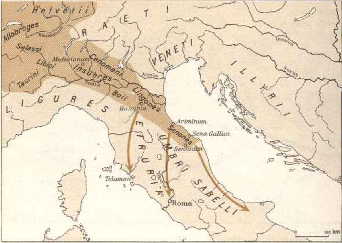 Map showing Gaulic invasions of Italy all the way to Rome.