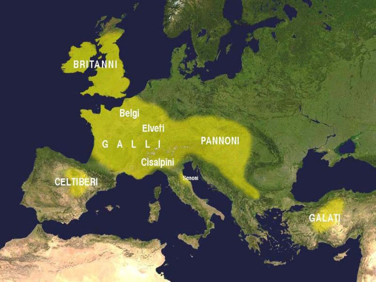 Map showing all the areas where Celtic tribes lived in Europe and the British Isles.  The Celtic Gaul tribes were located in Continental Europe in the 3rd century BC.