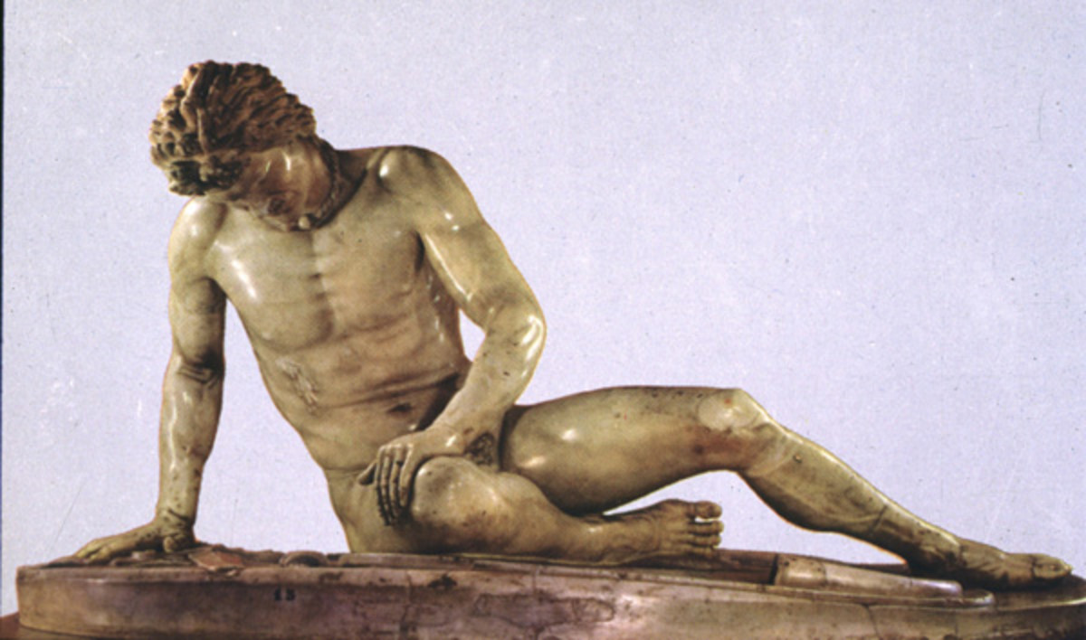 """The Dying Gaul""  Roman copy of a Greek original sculpture.  Originally found on the grounds of Julius Caesar's villa in Rome.  Presently on view in the Rome Capitoline Museum."