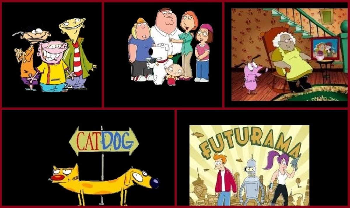 """Cancelled Cartoon Shows"" Cat Dog;Family Guy;Futurama;Ed,Edd and Eddy;Courage the Cowardly Dog"