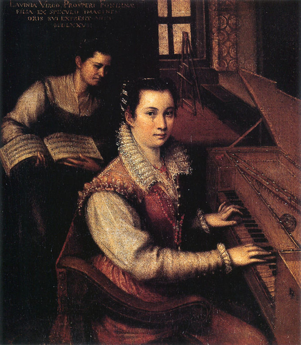 "L. Fontana, Self Portrait at the Spinet (1577), Rome Accademia di San Luca. The canvas is signed at the upper left corner ""Lavinia Virgin Daughter of Prospero Fontana"""