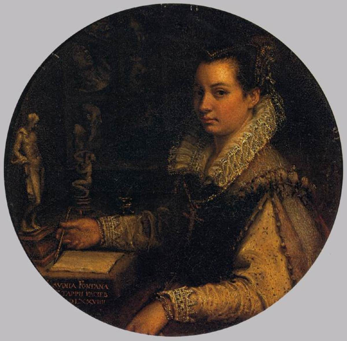 L. Fontana, Self Portrait (1579), Florence Uffizi  Lavinia pays great attention to her public image and portrays herself formally dressed at the desk of the study, full of antiquities. The painting is signed also with the name of her husband (Zappi).
