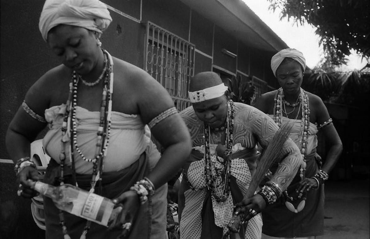 Mami Wata initiates during ceremonial procession.