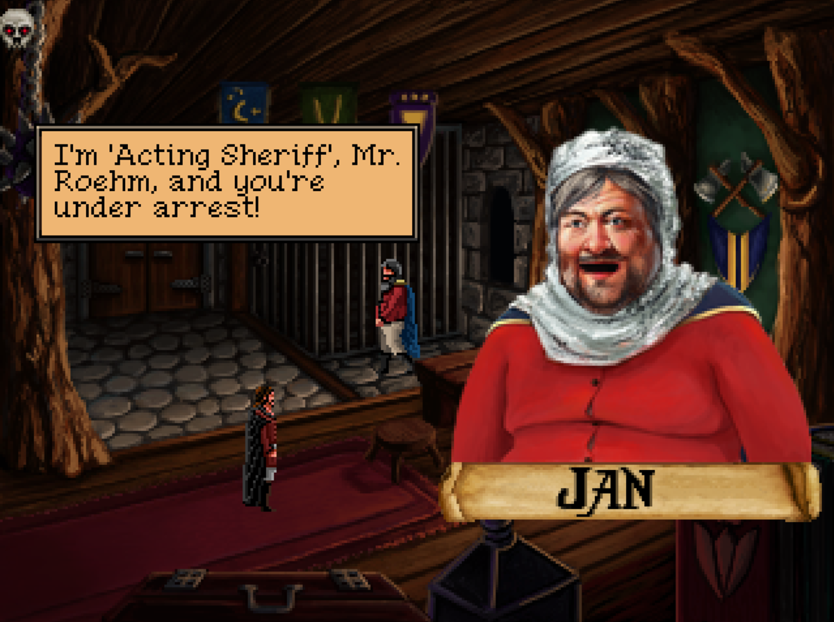 Jan of Quest for Infamy. If you fail to persuade him to help you'll have to find an alternate path into Tyr.