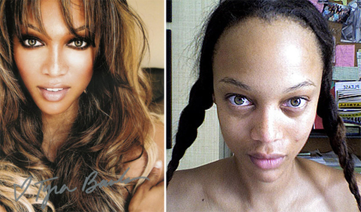 Tyra Banks looks much different without her supermodel make-up on.