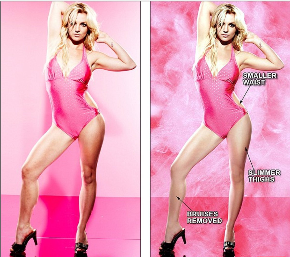 The photo on the left is the original photo of Britney Spears, the one on the right is the airbrushed photo.  Notice Britney's legs, waist, and arms are thinner.