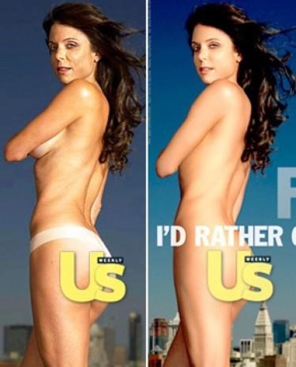Bethenny Frankel.  The left side is the original photo.  The right has been airbrushed and photo shopped.  Notice her skin is smoother, the cellulite is gone, and her skin has a glow.