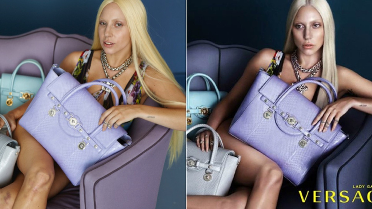 Lady Gaga looks like two different people in this Versace ad.