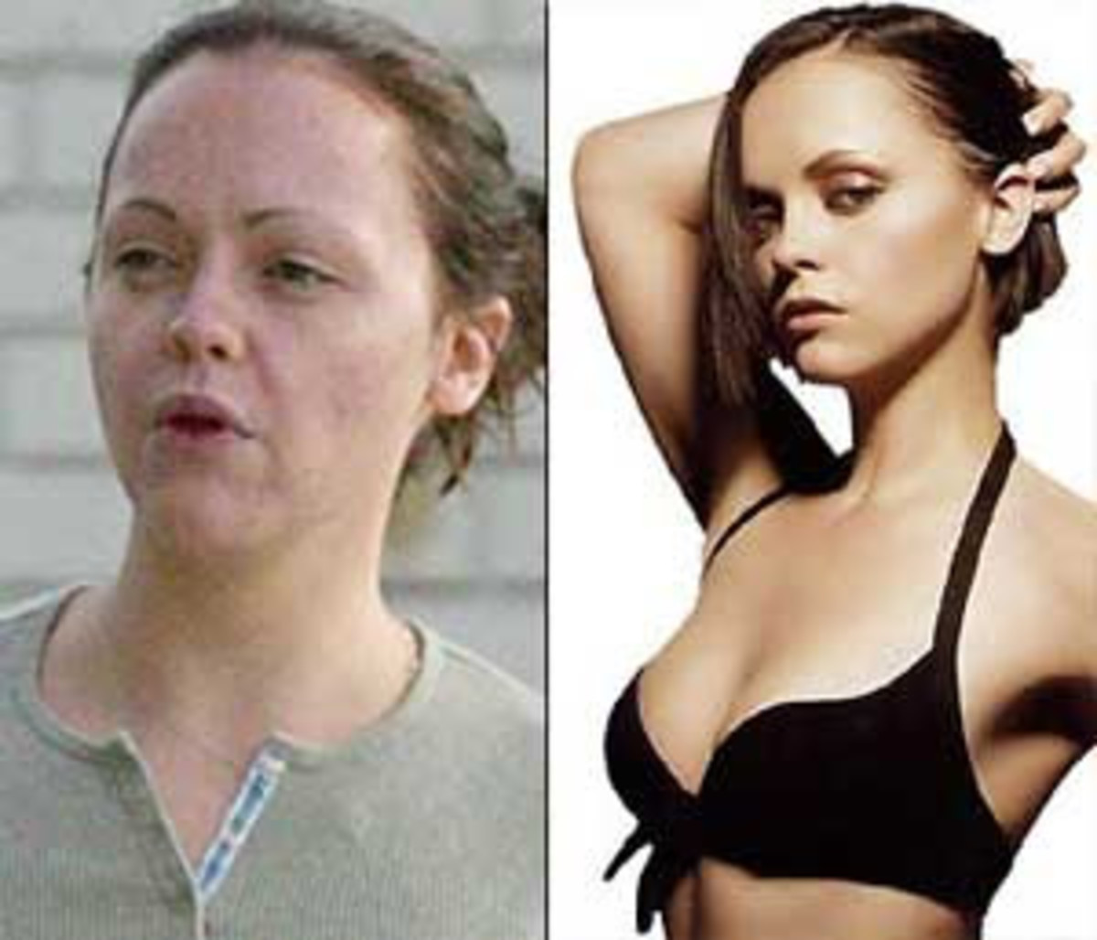 Christina Ricci is puffy and washed out without make-up on.  She looks like an everyday Joe and that's great!