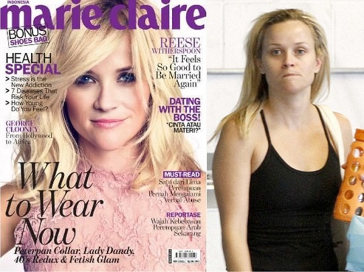 Reese Witherspoon looks tired and run down without make-up.