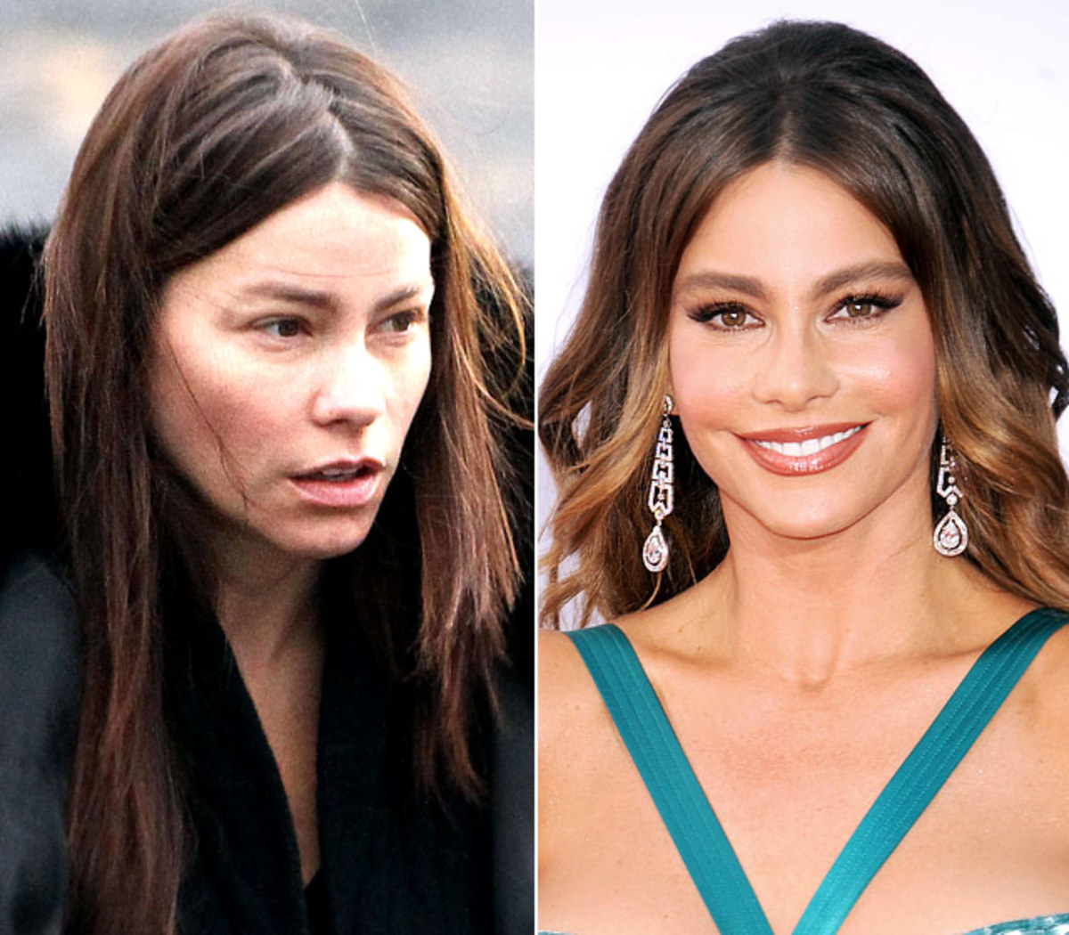 Sofia Vergara is almost unrecognizable without her pounds of make-up and bright red lips.