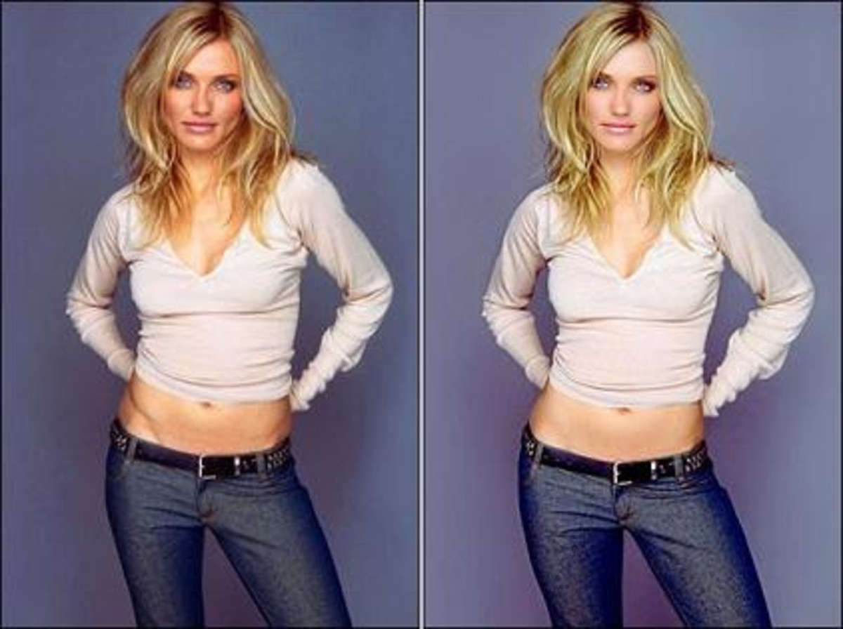 Left Photo is the original.  The right has been airbrushed of Cameron.  Cameron Diaz is a very fit and trim girl but someone still felt the need to airbrush her abs, give her skin a glow, and lighten her hair.
