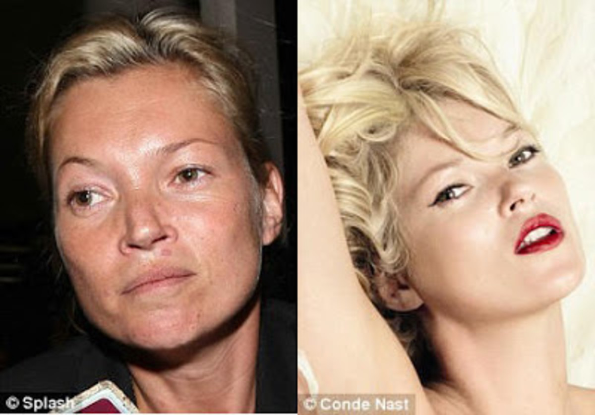 Kate Moss looks her age without make-up and that's not a negative thing!