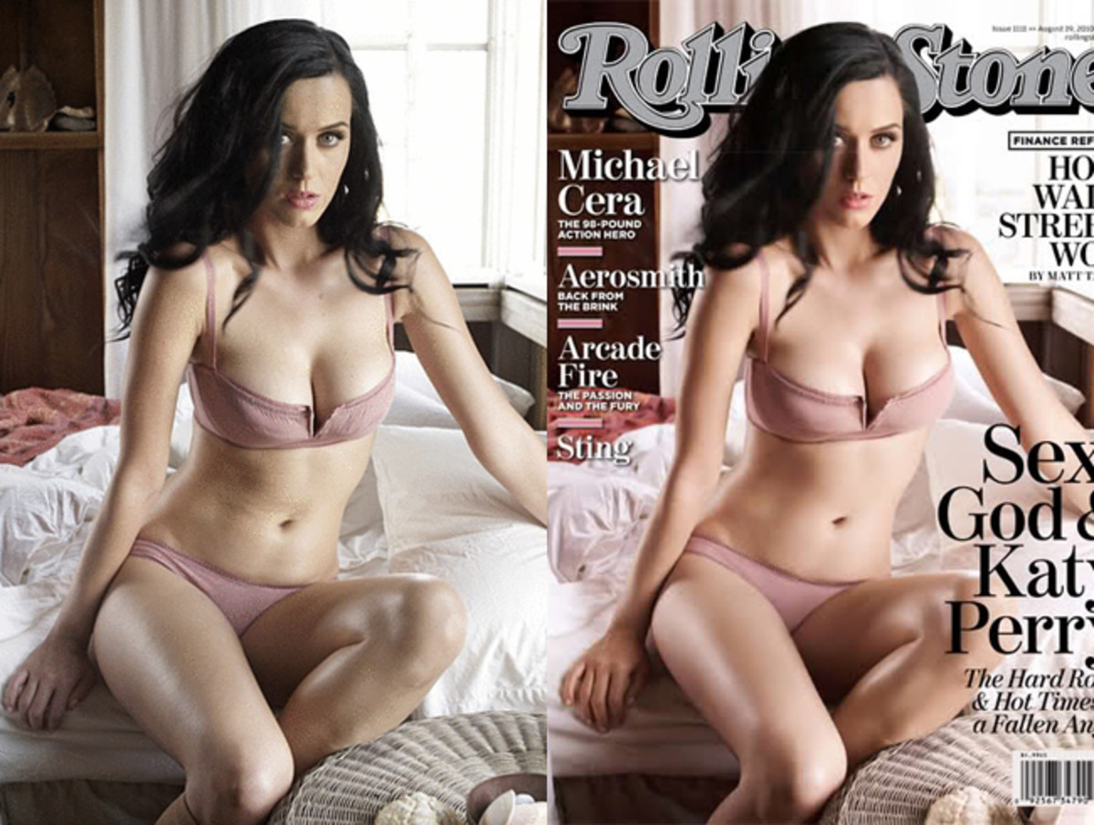 Katy Perry has been given fuller breast in the photo on the right, her waist has been slimmed, and of course don't forget the glowing skin!