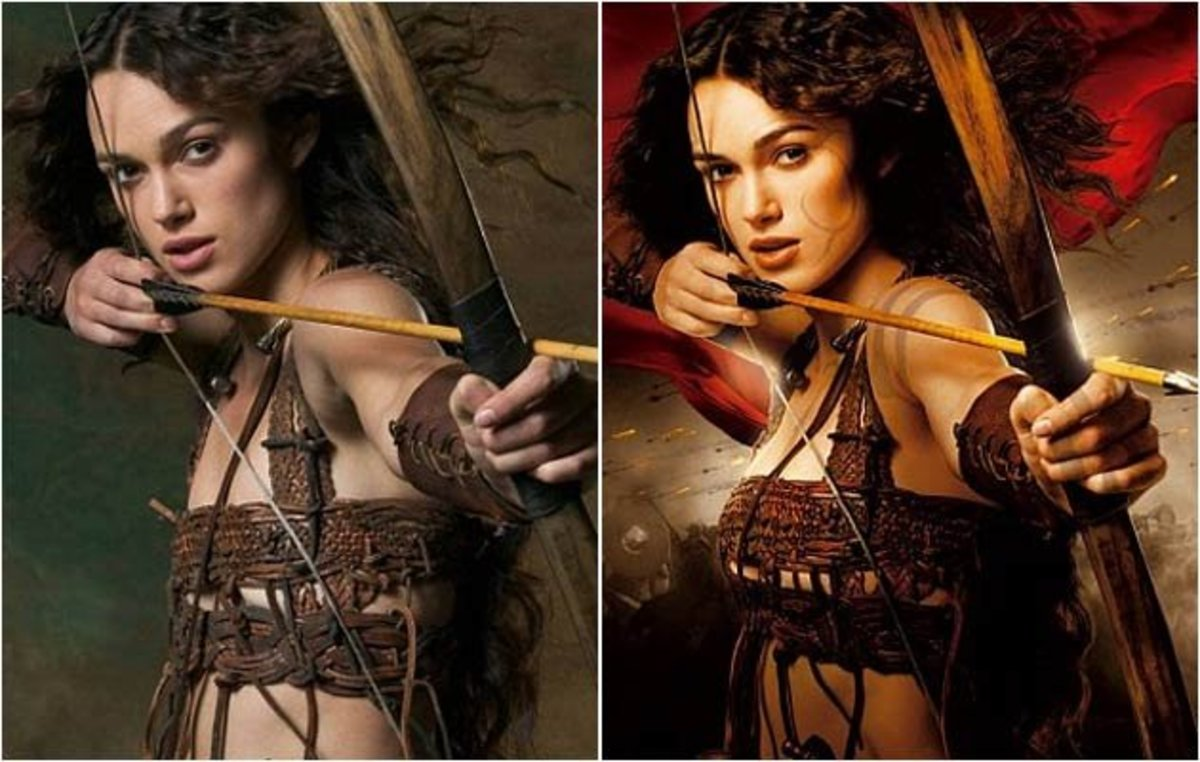 Keira Knightley has been given a tan and bigger boobs in the airbrushed photo.