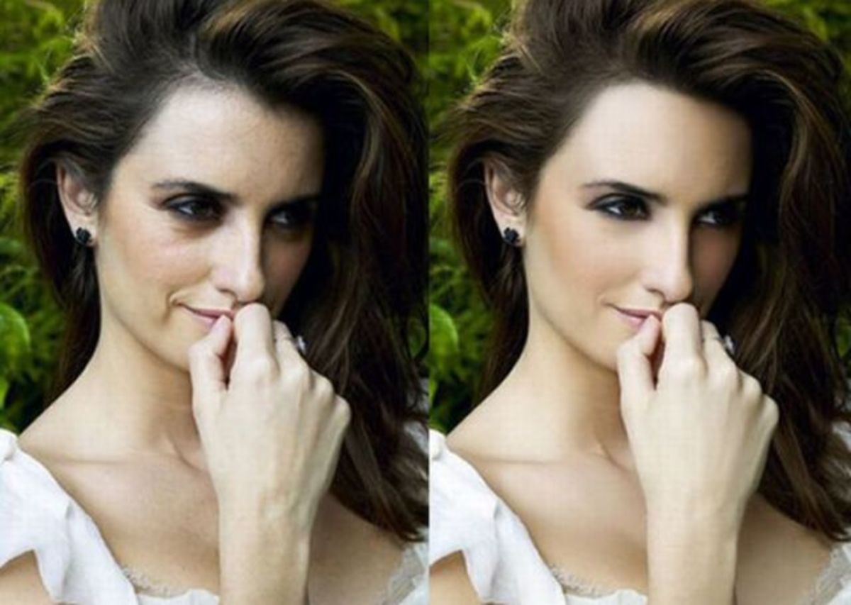Penelope Cruz's wrinkles have been smoothed out, as well her skin.  Plus, sprinkle a little glowing skin and there you have a perfectly airbrushed photo.  They have also enhanced her rosy cheeks in the airbrush photo and gotten rid of any blemishes.