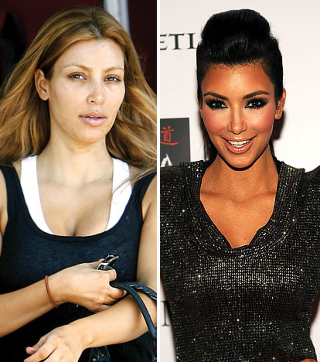 Kim Kardashian looks like a normal person and not an over tanned, painted Barbie doll.