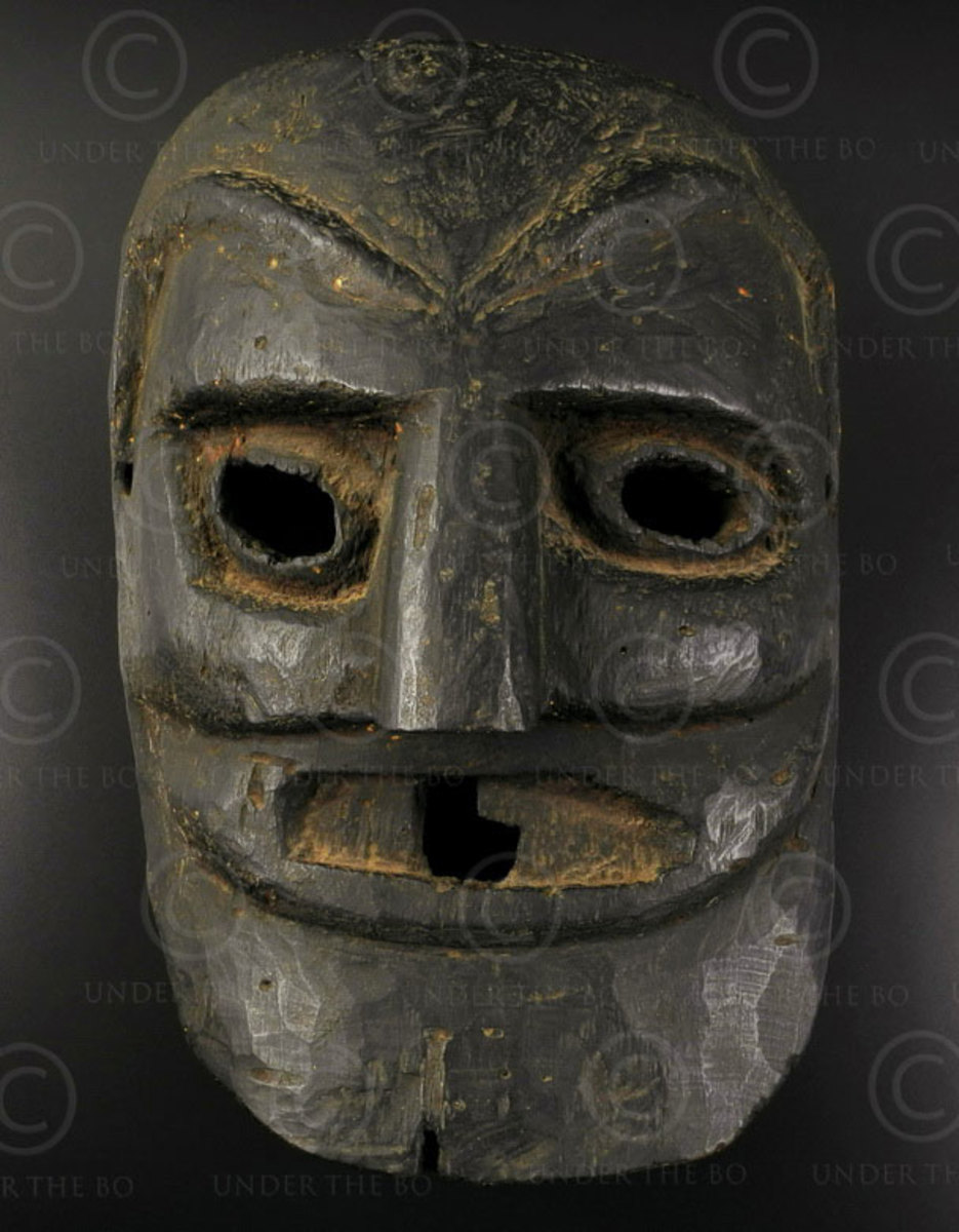 Ceremonial dance mask made of cedar  wood in Kulu valle of Himachal Pradesh.