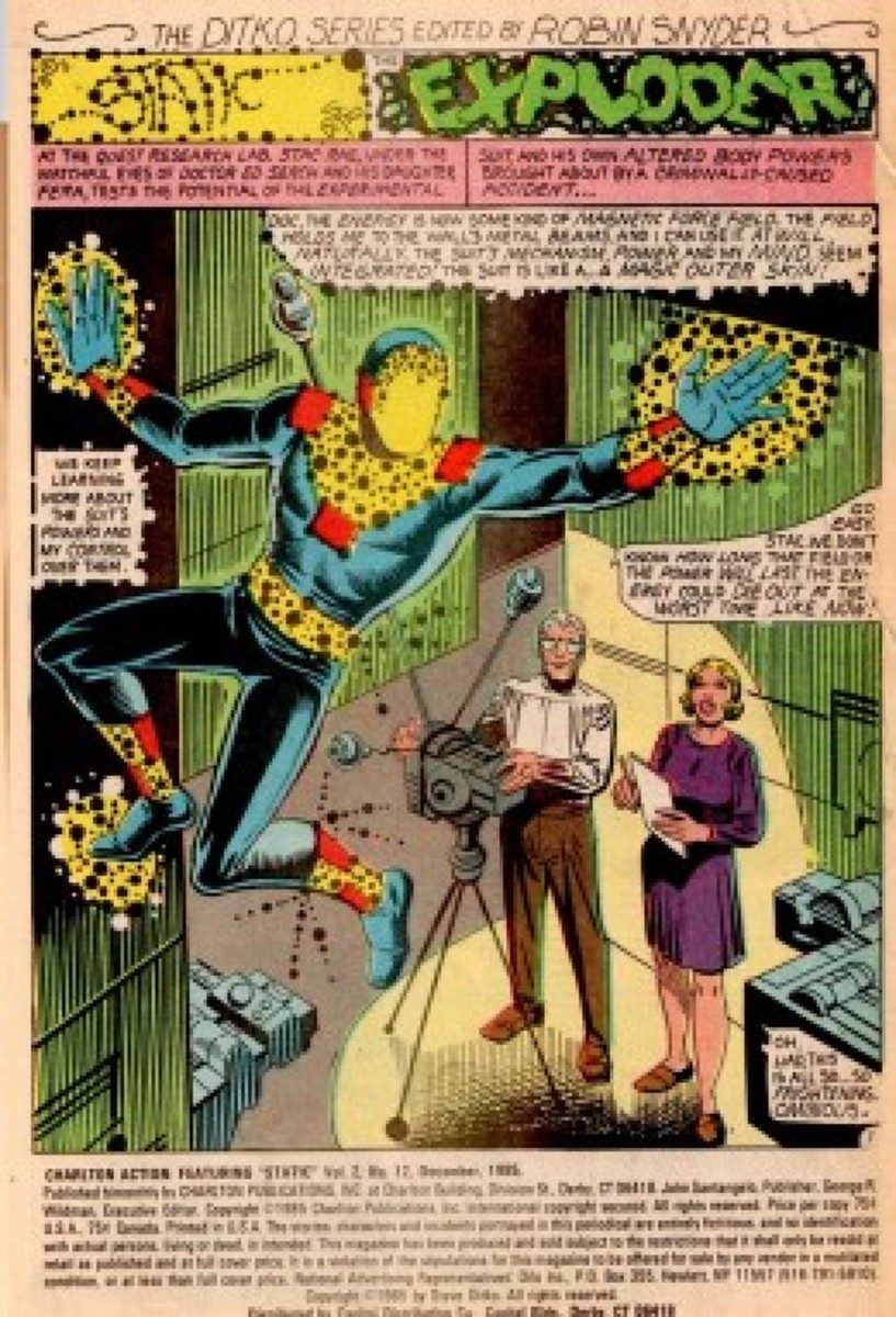 Ditko's hero Static, in a mid-80s issue of Charlton Action, shortly before the company's demise.