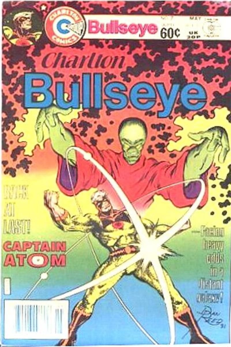 Charlton Bullseye #7, 1982. Captain Atom makes a brief return before being sold to DC.