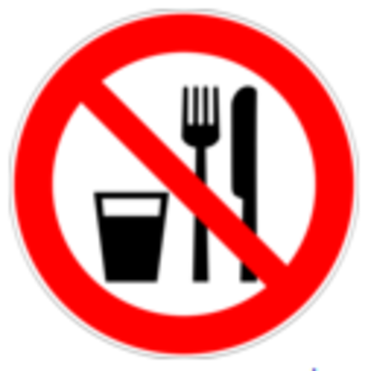 Don't eat or drink in this area.
