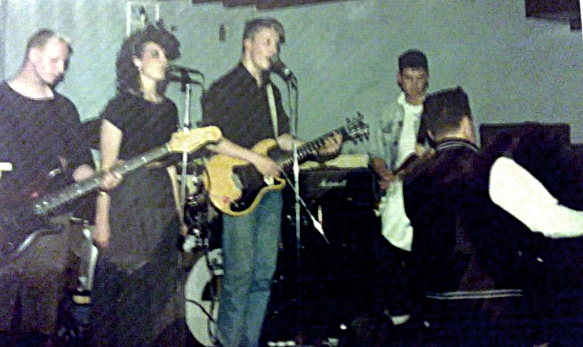 Clark Gable at Raiders in Preston in 1987. Pictured from left are: Eamonn, Jackie, lead vocalist Sean and Johnny.