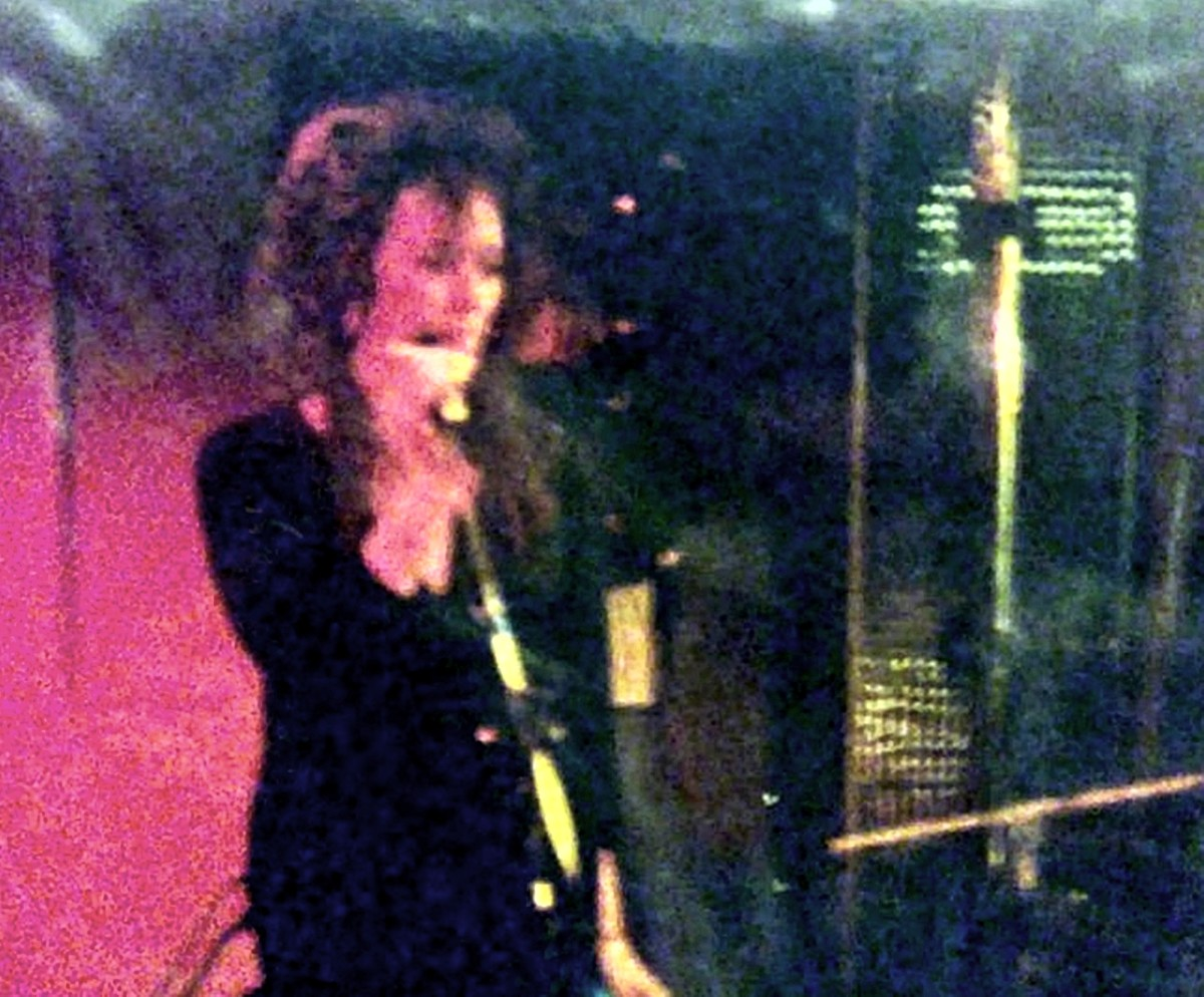 Me on stage doing backing vocals with The Bed at the Starr Inn, 1987