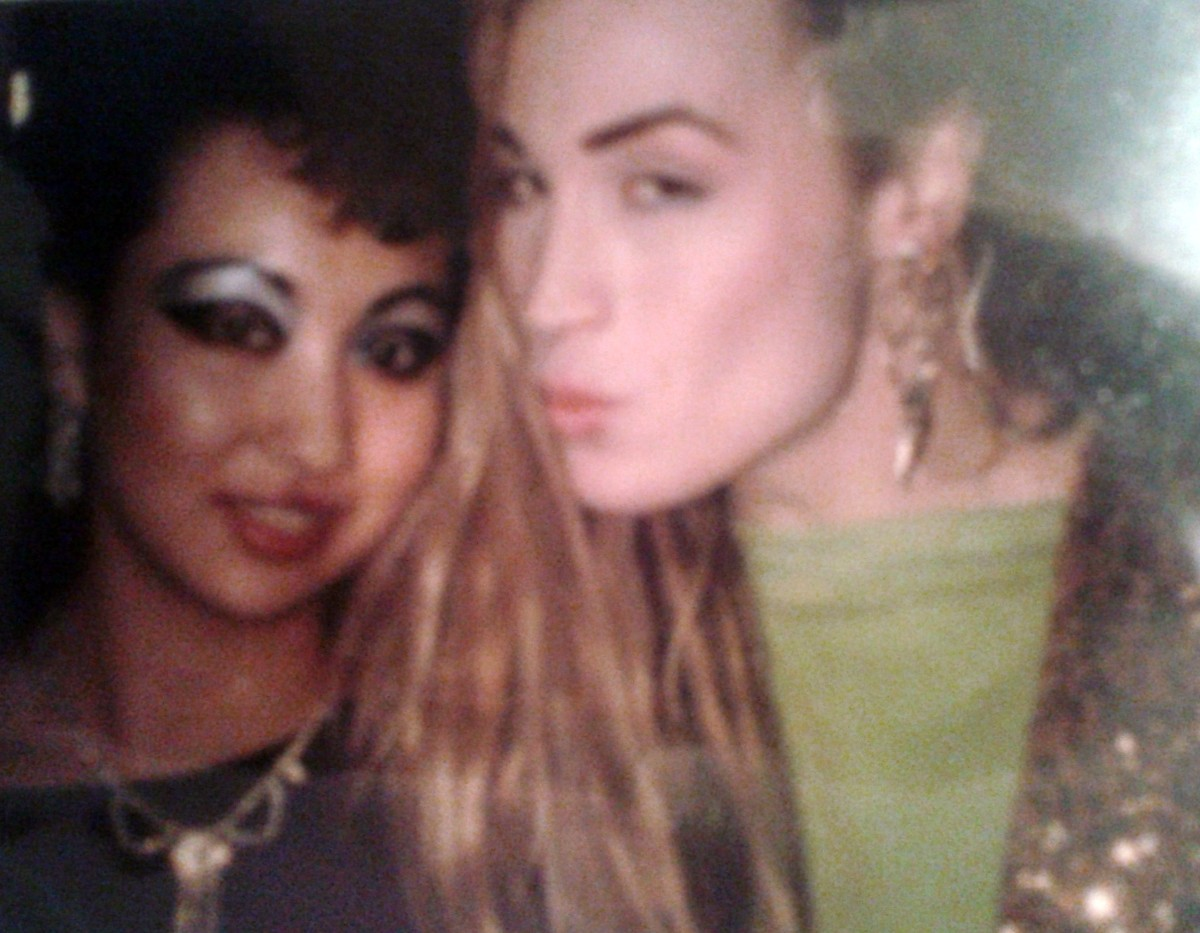 My friend Nila with the singer Marilyn, Boy George's friend, in the '80s