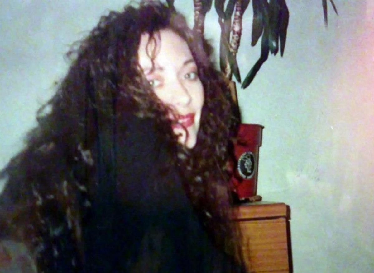 Me in 1992, when I had done myself a full head of human hair extensions (with my long-suffering mum's help) - dyed them black and even permed them. It took me and mum about three days! They were so well done, they lasted for about two years.