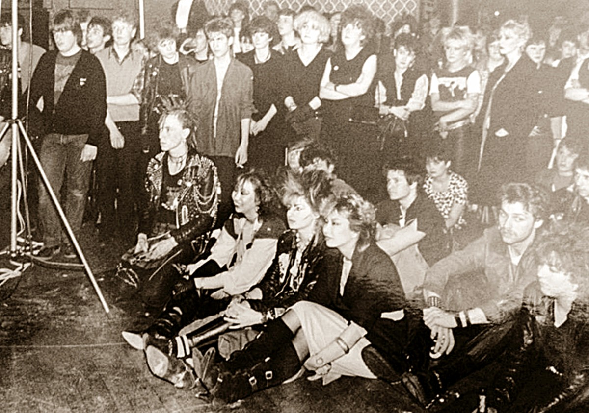 A photo of fans watching a band in Blackpool in the early '80s. My friends Nila, Boz and Jenny are sitting on the front row. My other friend, Sue, is standing 4th from the right at the back.