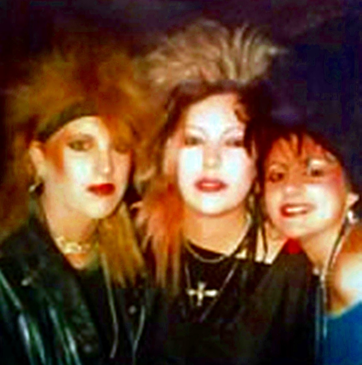 Pictured (from left) are Mitch, me and Sally, all with our hair extensions. Mine were pink and black at the time.