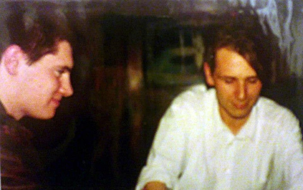 Andrew and Tim in the Queens, Lytham, in 1988