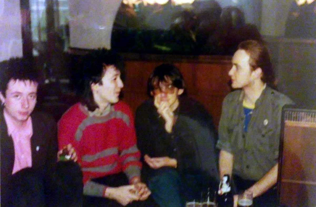 From left: David (Crabby), John (Elvis), John (Sid) and Roger in the Gynn pub after watching John Dalton's jump off the top board at Derby Baths