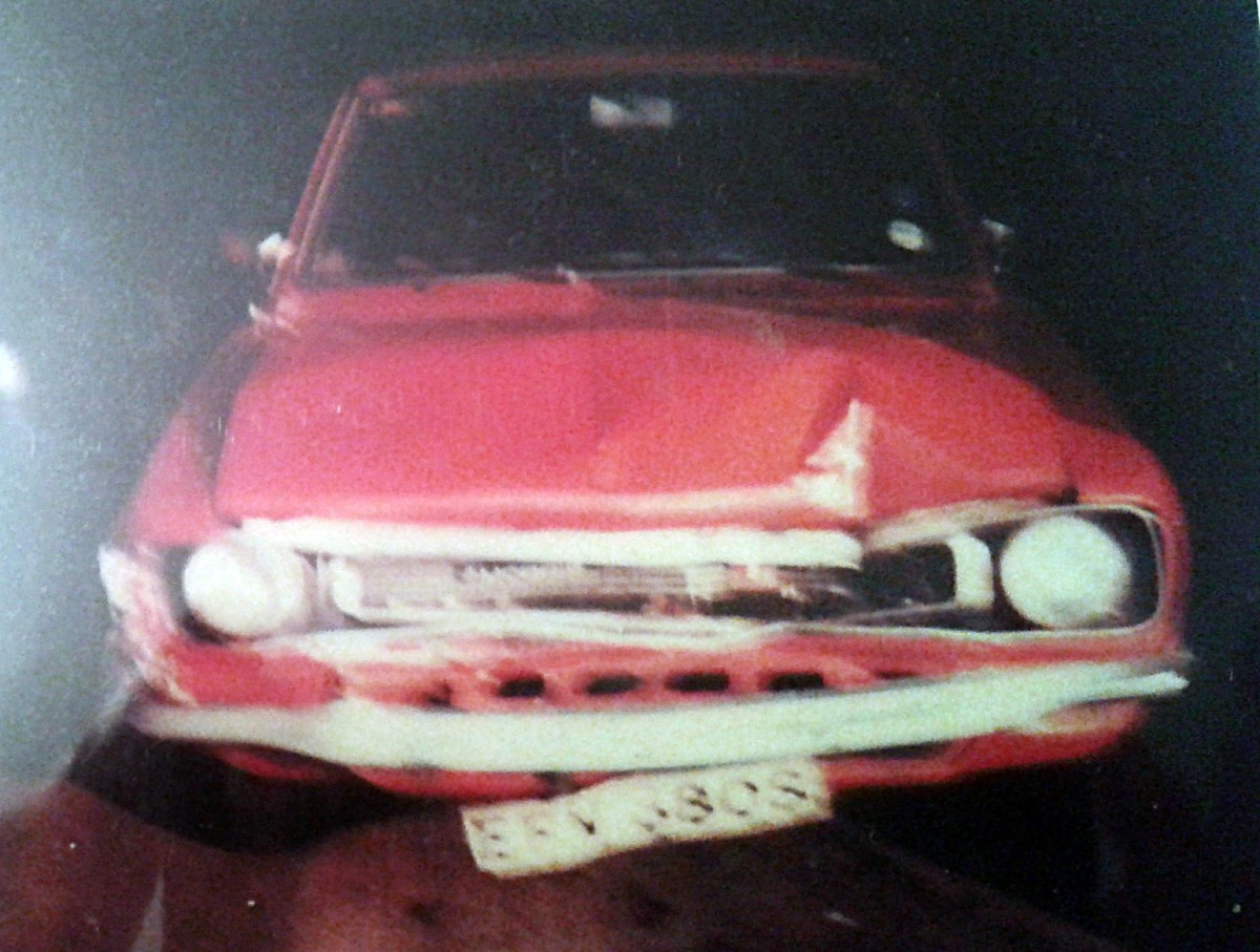My dad's poor Morris Marina, wrecked after my accident in a multi-storey carpark in Manchester.
