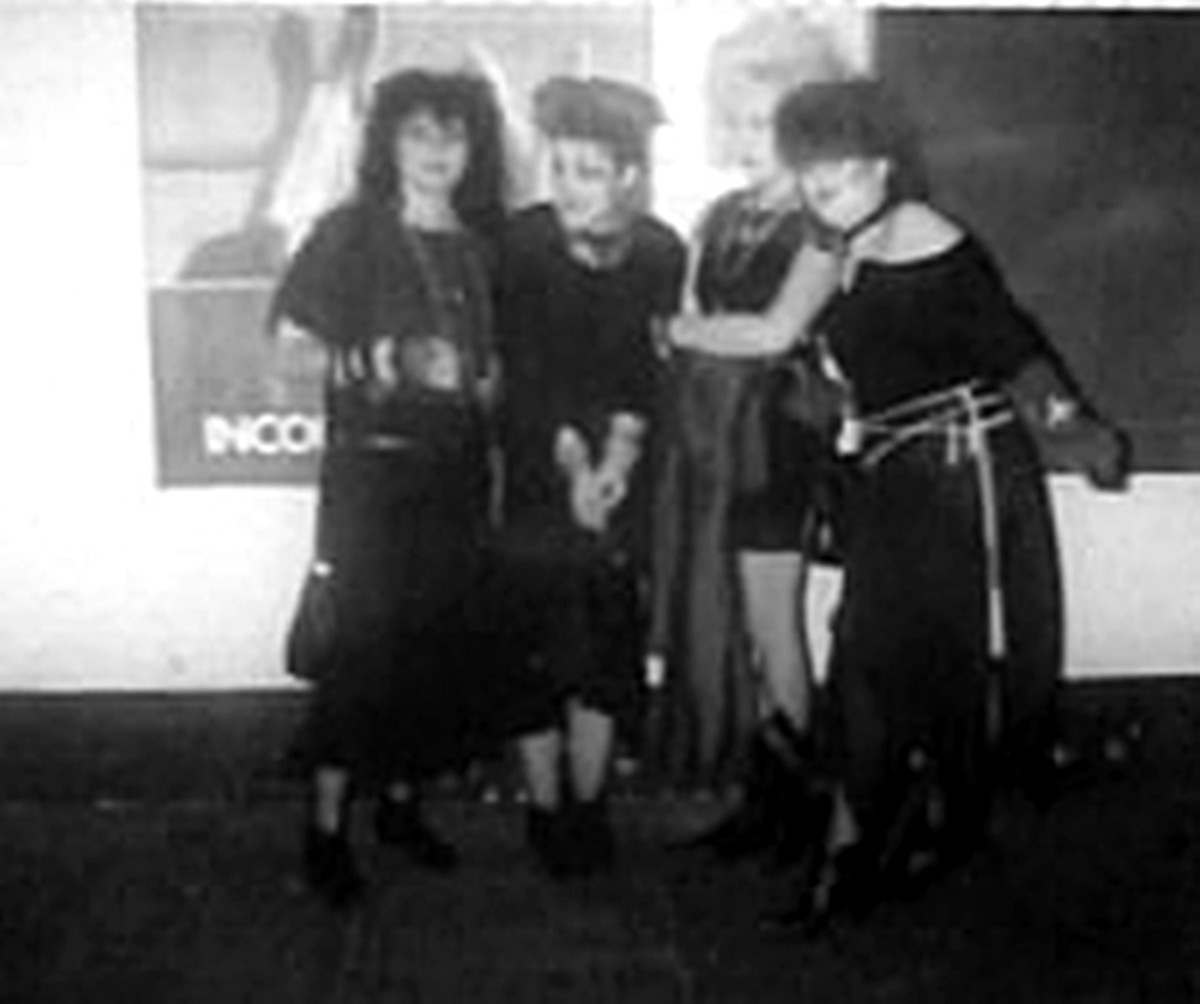 Outside Legends in Manchester (from left): Sandra, Nicola, me and Christina