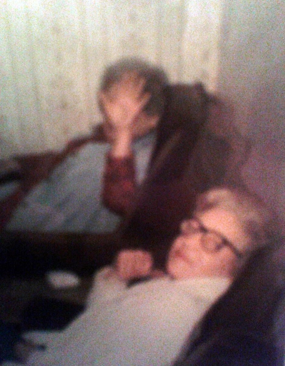 "My grandma - who looks like she's saying, ""No publicity, please!"" - and her friend, Mrs Duffy."
