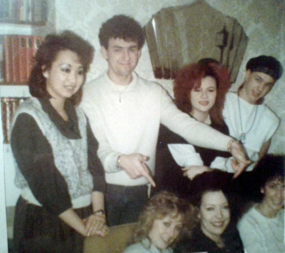Standing (from left) are Nila; my schoolfriend Tracey's boyfriend Simon; Michelle and Kevin. Seated (from left) are Tracey, me and my schoolfriend Alison.