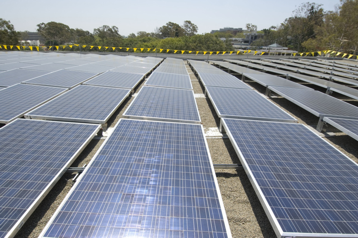 Solar panels generate energy from the sun; a green energy resource