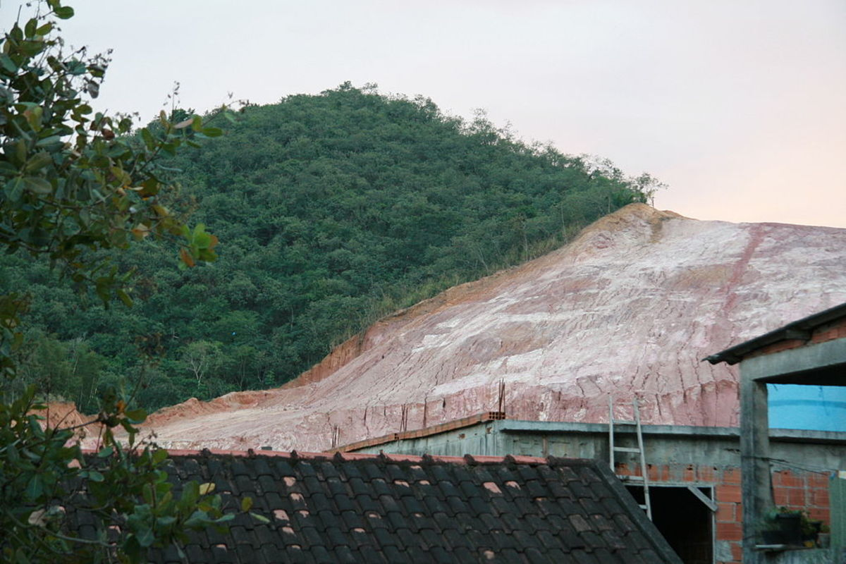 Deforestation for the use of clay in the Brazilian city of Rio de Janeiro. The hill depicted is Morro da Covanca, in Jacarepaguá.