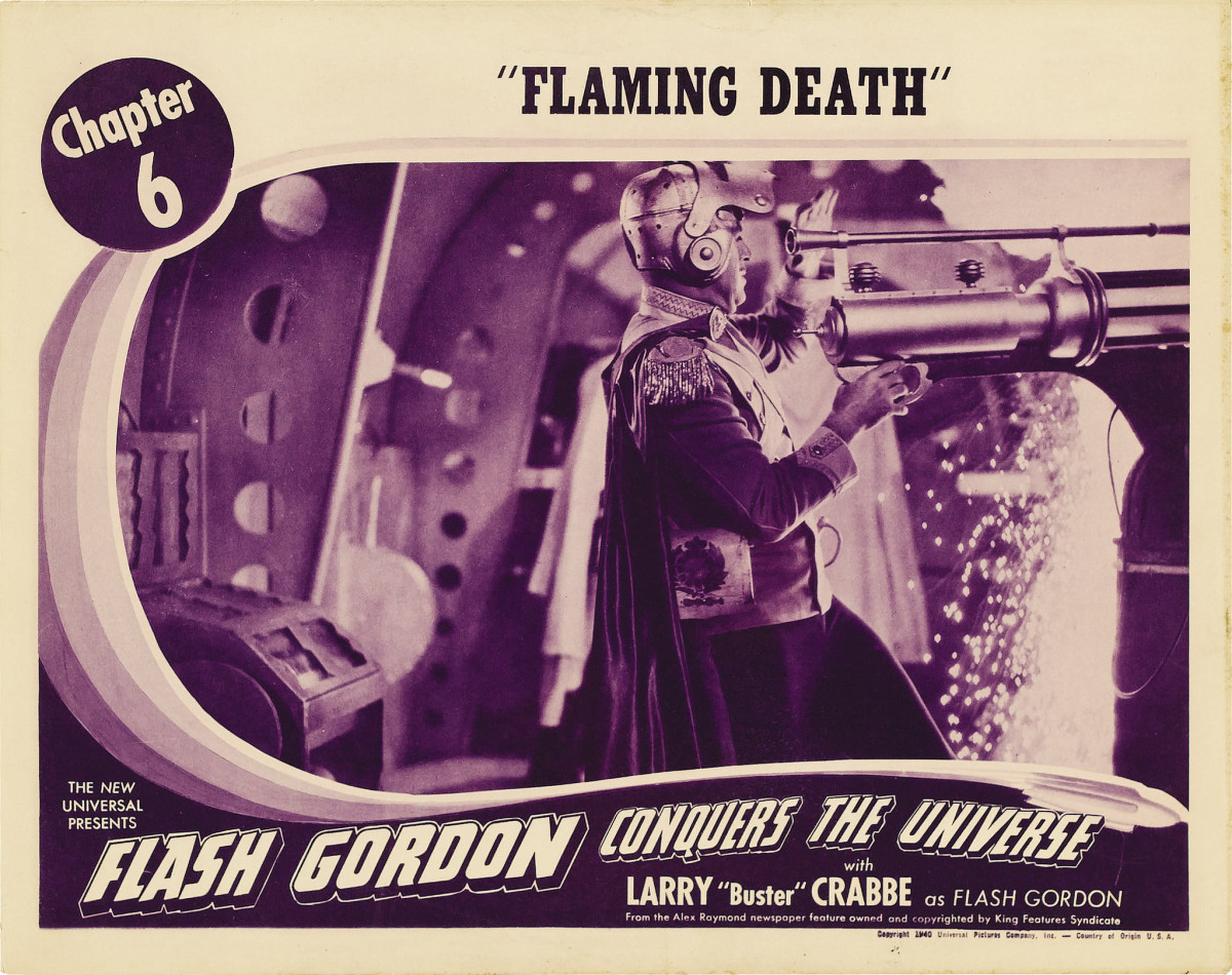 "Flash Gordon Conquers the Universe Universal  Lobby Card Chapter 6 Flaming Death (1940)  11"" X 14"""