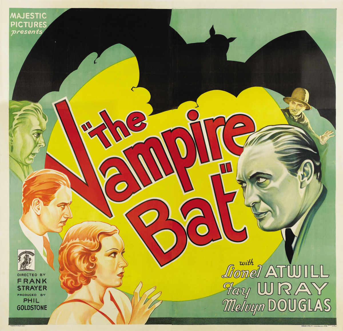 "The Vampire Bat (Majestic, 1933). Six Sheet (81"" X 81"")  Lionel Atwill, Faye Wray"