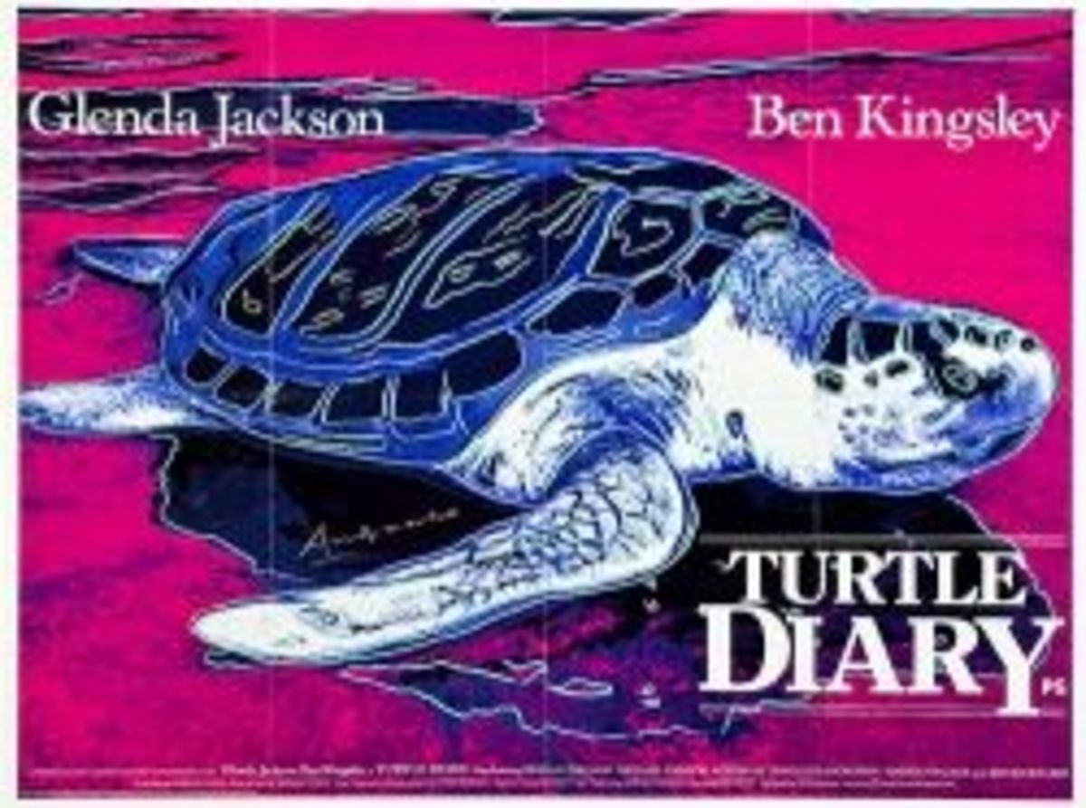 Turtle Diary CBS 1985 British Quad Poster Art by Andy Warhol 30 X 40 Ben Kingsley Glenda Jackson