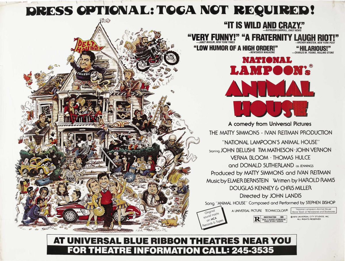 Animal House Universal 1978 Subway Poster 41 X 54 John Belushi Verna Bloom Donald Sutherland