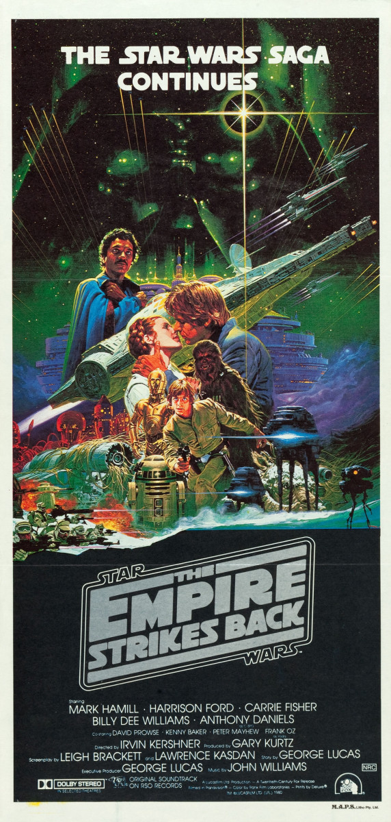 Star Wars The Empire Strikes Back 20th Century Fox 1980 Australian Daybill  13 X 30  Mark Hamill Carrie Fisher Harrison Ford
