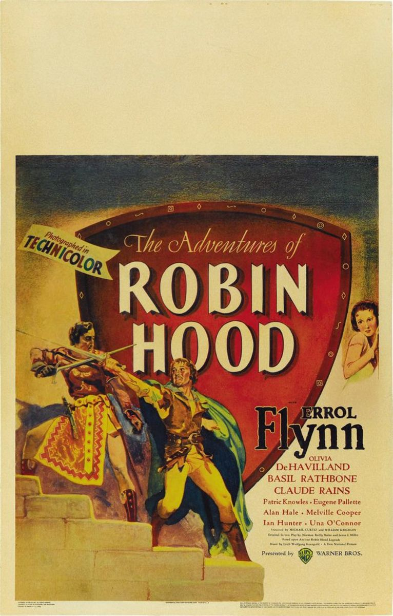 "The Adventures of Robin Hood (Warner Brothers Window Card (1938) 14"" x 22"" Errol Flynn, Olivia de Havilland"