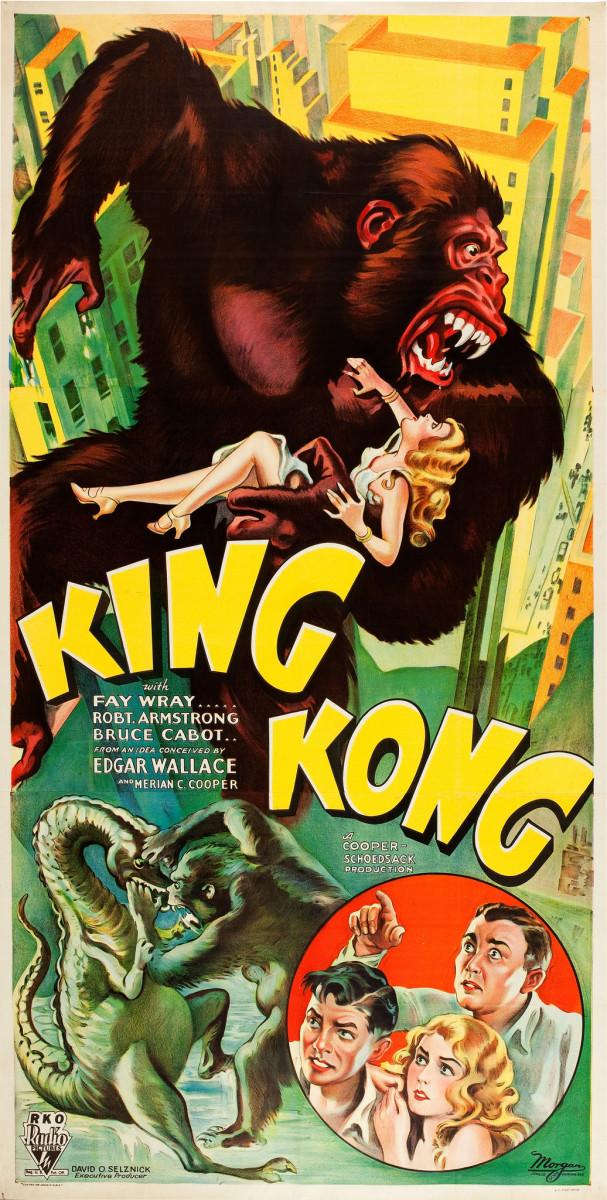 "King Kong (RKO, 1933) Three Sheet Style B (40.25"" X 79"") Faye Wray, Robert Armstrong, Bruce Cabot"
