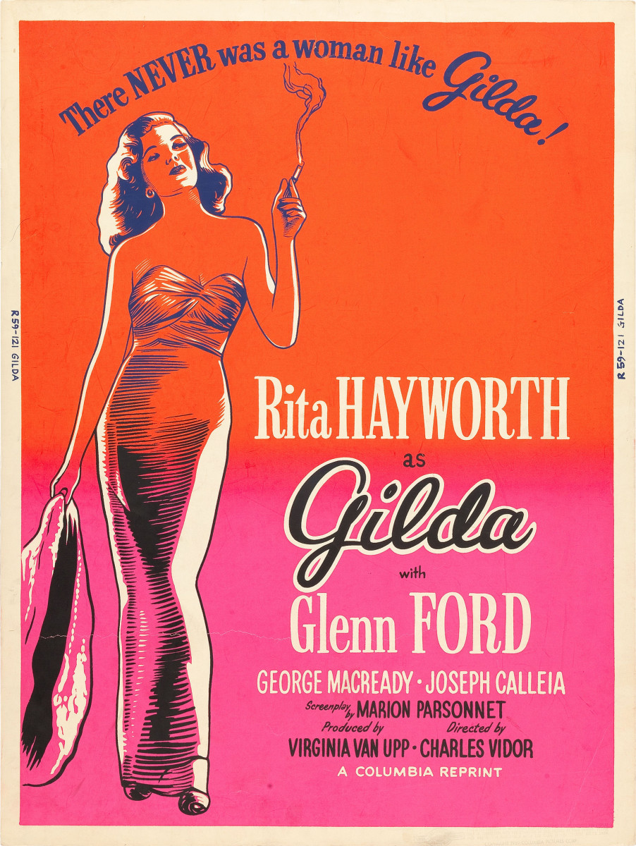 "Gilda (Columbia, R-1959) Day-Glo Color Poster (30"" X 40"") Rita Hayworth, Glenn Ford"