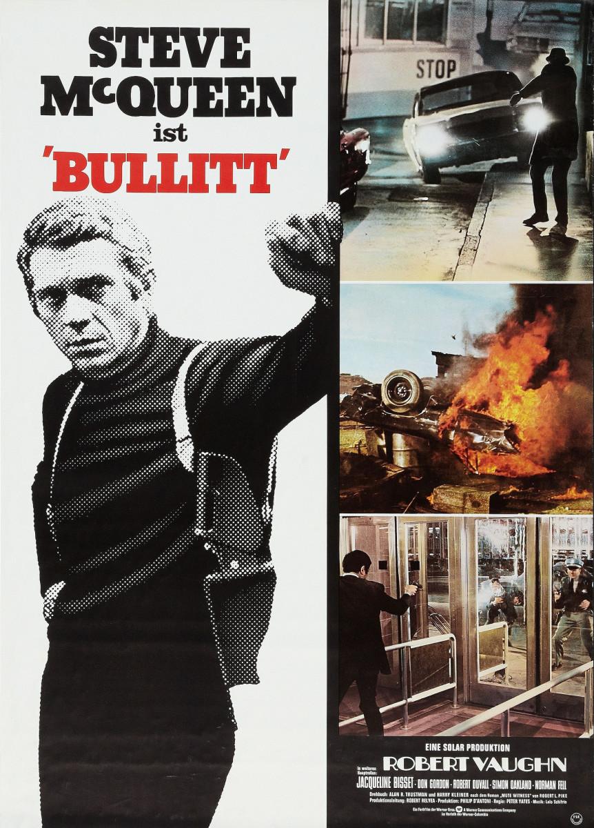 "Bullitt (Warner Brothers, R-1974) German A1 (23"" X 33"") Steve McQueen, Robert Vaughn, Jacqueline Bisset"