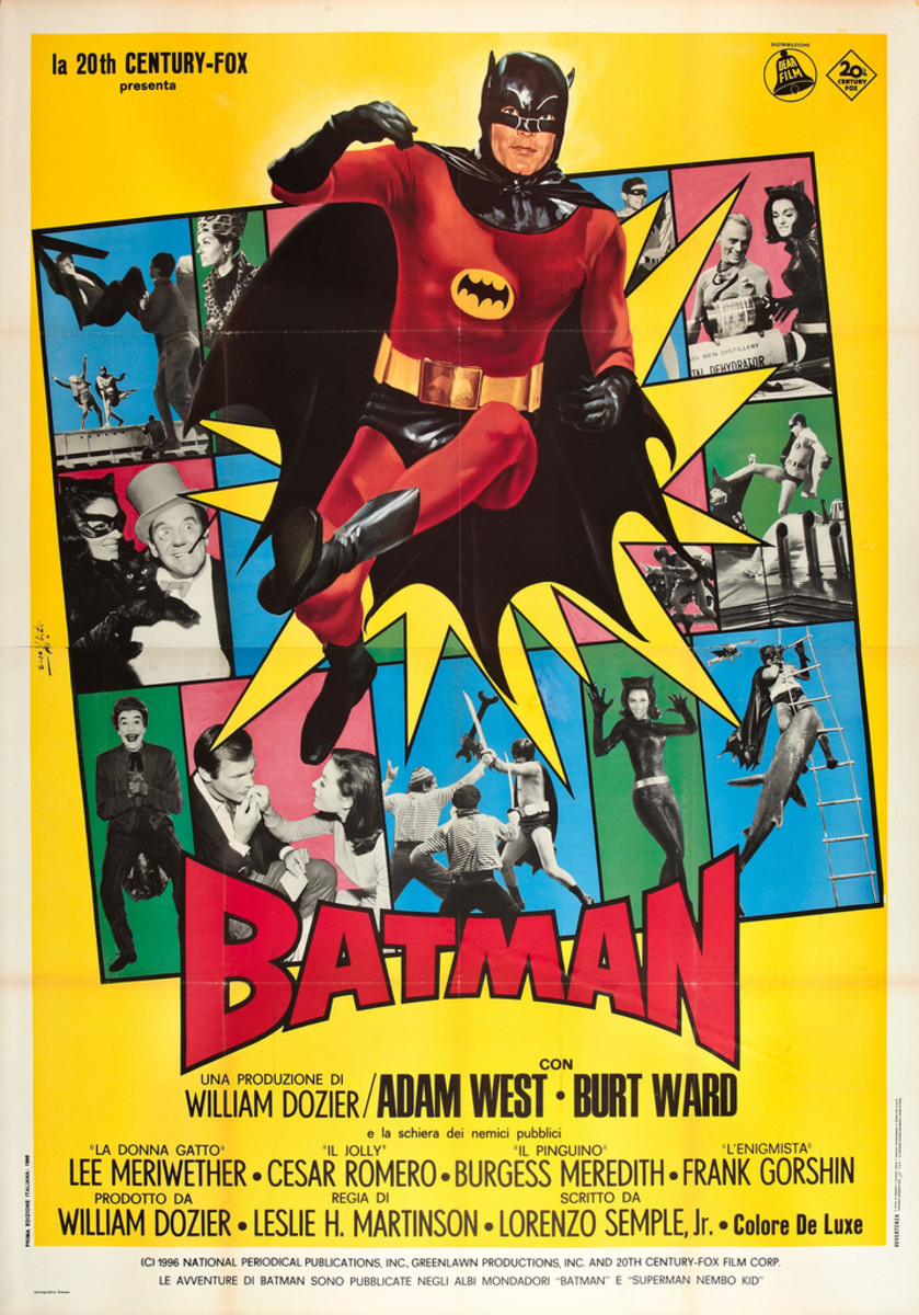Batman 20th Century Fox 1966 Italian 4 - Foglio 55 X 78 -- Adam West Burt Ward